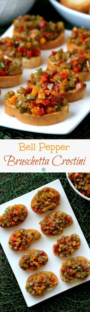Bell Pepper Bruschetta Crostini is a crowd pleasing appetizer that would work for elegant dinners, holidays and game day. Makes a great dip too!