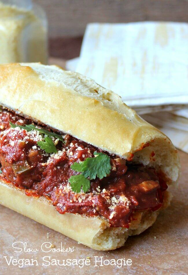 Slow Cooker Vegan Sausage Hoagie makes life easier by being able to do it all in the crockpot. This flavorful sandwich hits the spot!