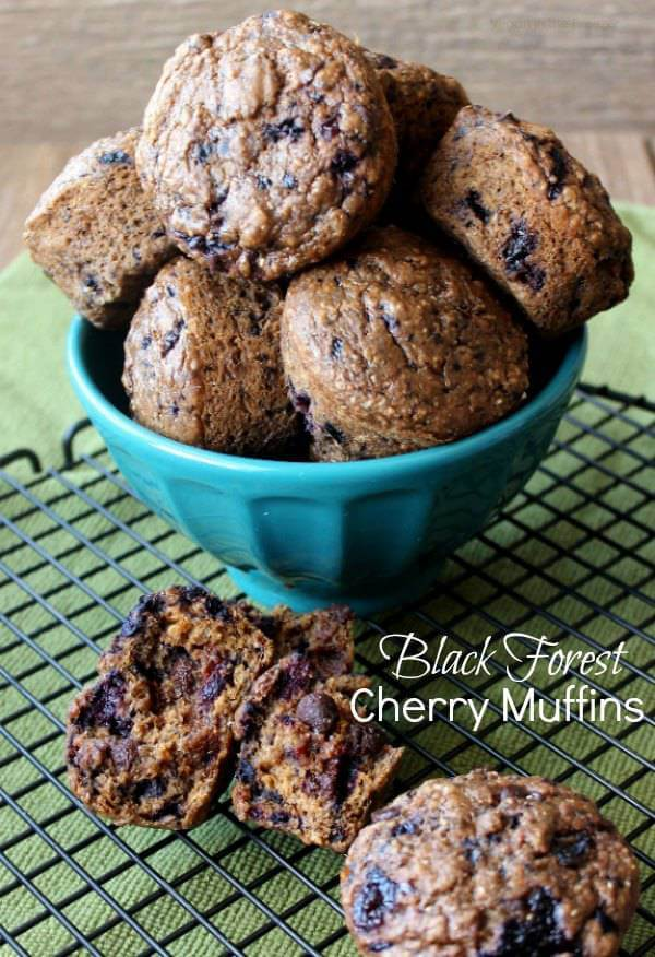 Black Forest Cherry Muffins are moist and easy. Packed full of cherries and chocolate these muffins are also dairy free. Great for breakfast, as a snack and for dessert.