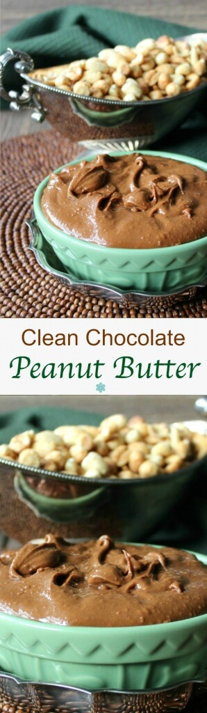 Clean Chocolate Peanut Butter is a guilt free treat. Only 4 ingredients and a food processor. It's literally a very few minutes and your work is done.