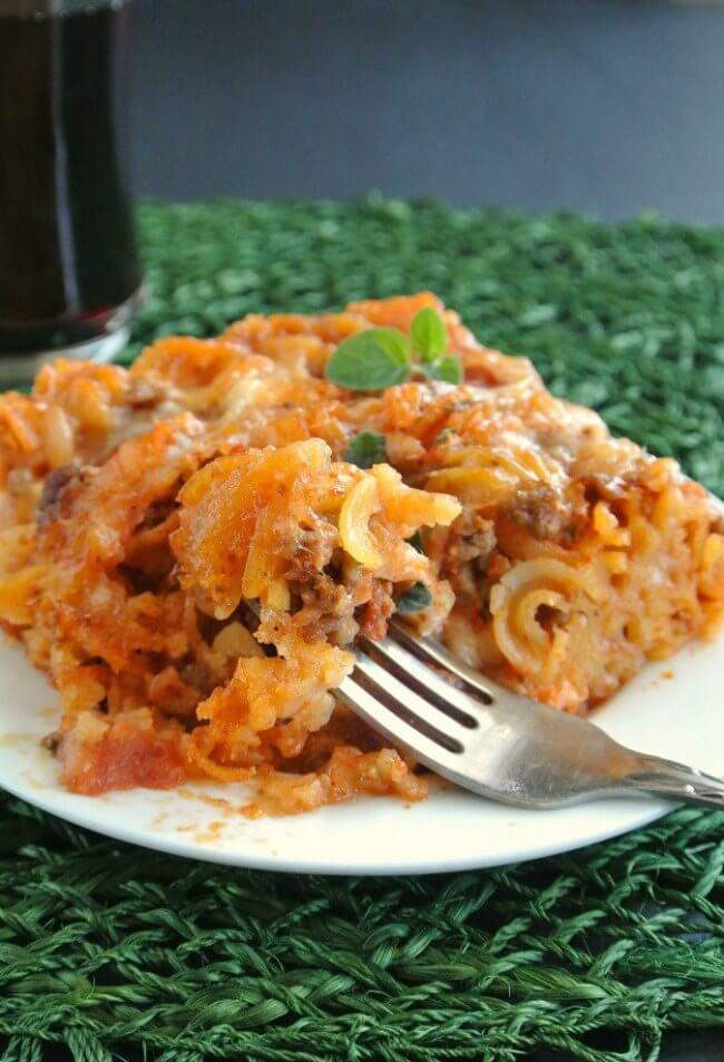 Easy Rotelle Pasta Casserole is comfort food to the max. A cozy meal the whole family will love.