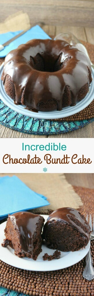 Two photos on top of each other of chocolate bundt cake with text in the center for pinning.
