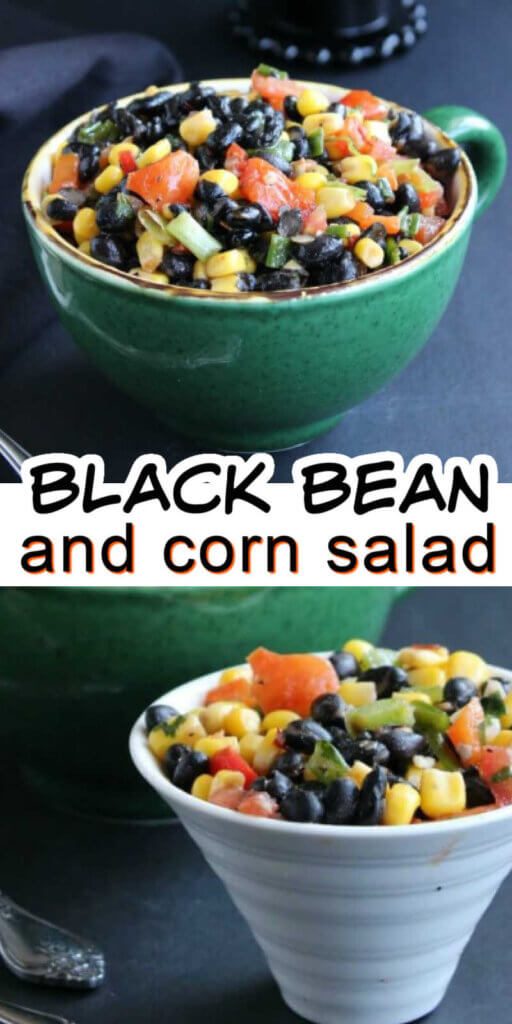 Two photos one above the other with black bean and corn salad in a green bowl and also in a white flared bowl.