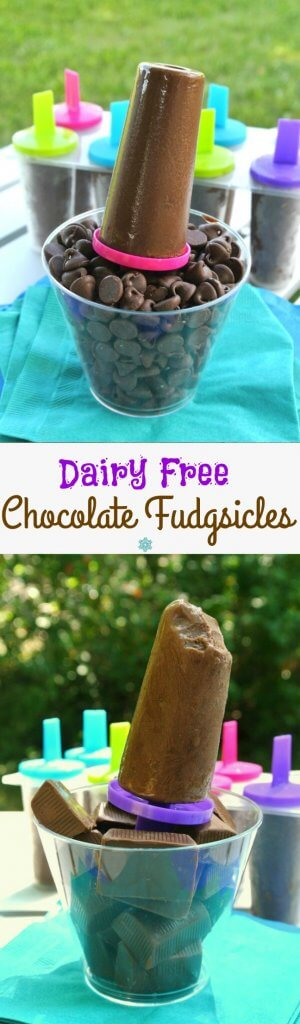 Two pictures one above the other with dairy-free fudgsicles siting in clear cups full of chocolate chips against a turquoise mat.