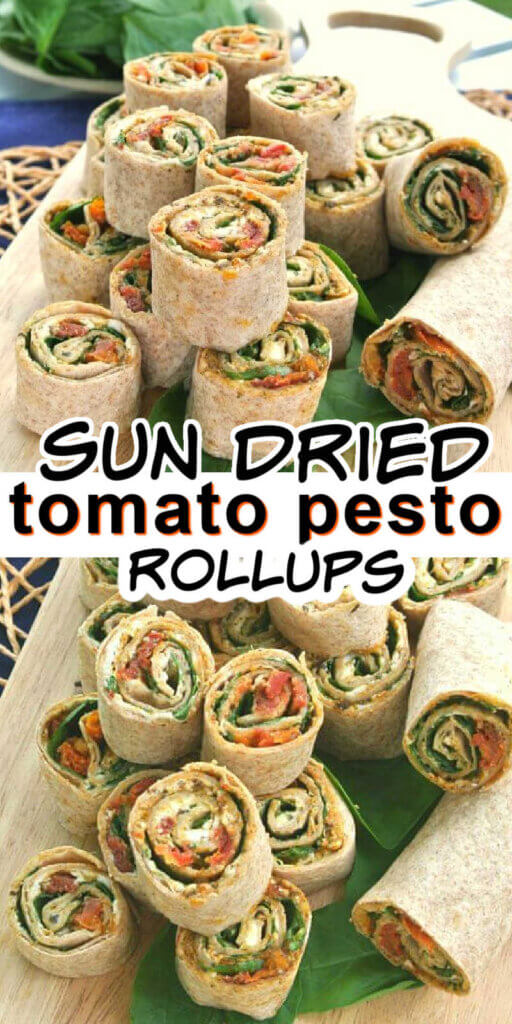 Two photos one above the other with tortilla rolls wrapped aound favrorite veggies and then cxut into pinwheels for great finger food.