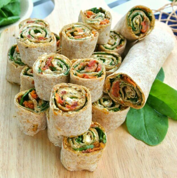 Sun-Dried Tomato Pesto Tortilla Rollups has layers of flavor and texture that only takes 15 minutes to prepare.