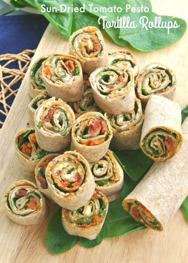 Sun-Dried Tomato Pesto Tortilla Rollups has layers of flavor and texture that only takes 15 minutes to prepare. Healthy appetizer that everyone loves.