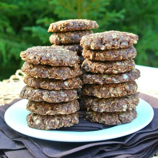 No Bake Chocolate Peanut Butter Cookies are stacked in three piles of overlapping stacks with about 7 cookies to the stack. All on a white plate on top of brown napkins.