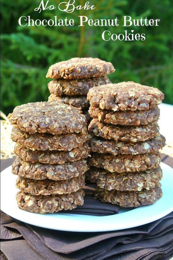 No Bake Chocolate Peanut Butter Cookies are stacked in three pies of about six to seven cookies each and all on a white plate with a green background.
