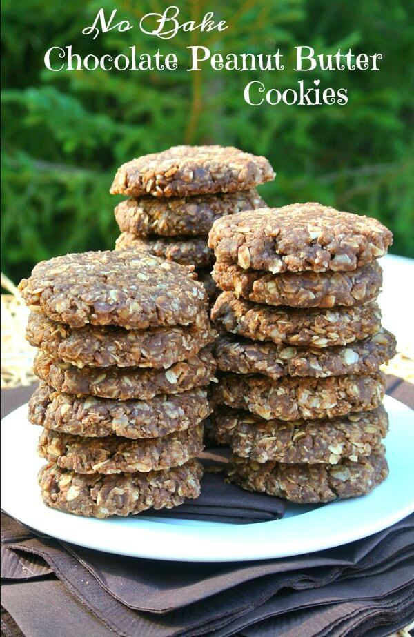 No Bake Chocolate Peanut Butter Cookies are a favorite, no refined sugar, take 10 minutes to make and have the texture of a cookie. 5 stars!