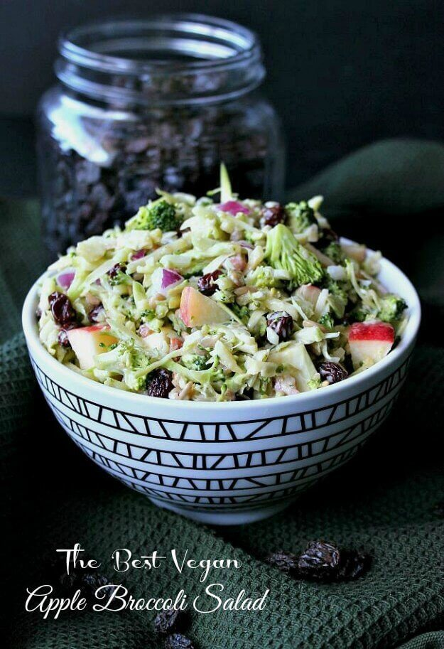 Vegan Apple Broccoli Salad has everyone's favorite vegetables & fruits. It all goes in a bowl, pour on the sweet tangy dressing. Toss & eat!