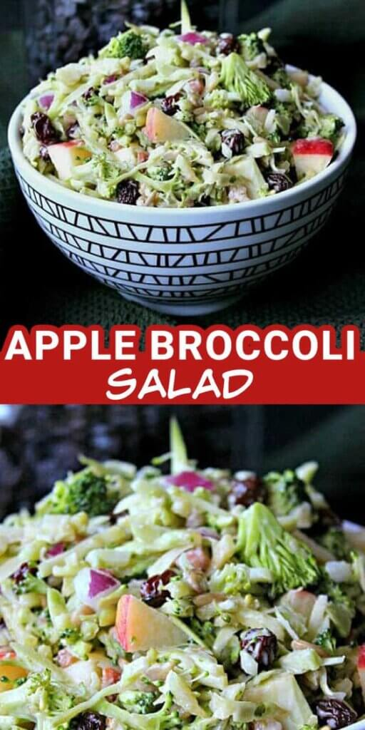 Two photos one above the other with broccoli, apple and raisins all tossedtogether with a sweet vinegar dressing. Text through the center in red as a description.