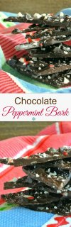 Chocolate Peppermint Bark is made with deep rich chocolate that has hints of a minty flavor and little bits of peppermint candy cane. Super simple.