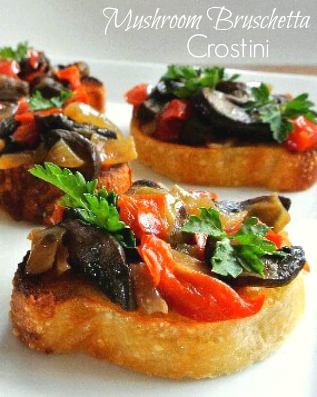 Mushroom Bruschetta Crostini has three to a picture with slices of red, brown and green glistening veggies on golden toasts.