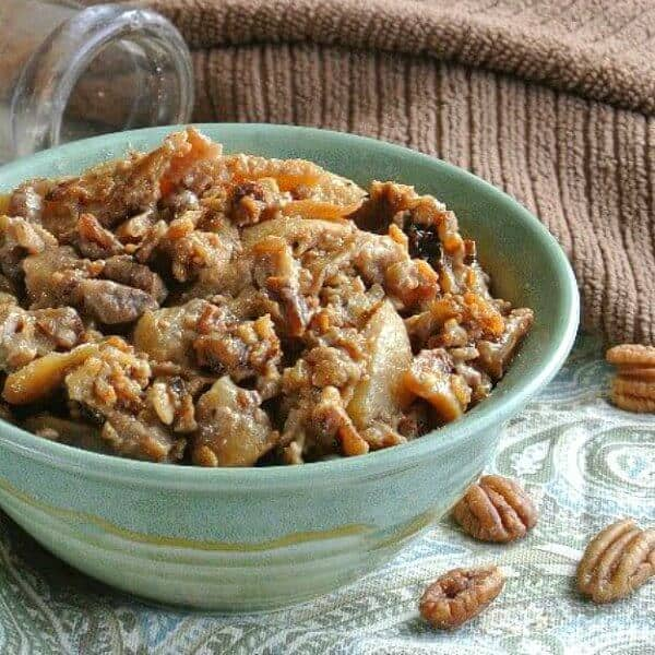 Slow Cooker Apples and Oats is apples with cinnamon coconut sugar and oats and pecans. Where everything is cooked together with accents of flavor.