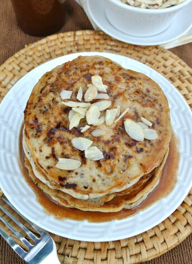 Vegan Buttermilk Pancakes with Almond Butter Maple Syrup are to-die-for and simple to make.