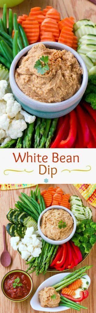 Healthy White Bean Dip is here to help with healthy noshing. Get ready for the next get-together that is just around the corner. Fast, healthy and tasty!