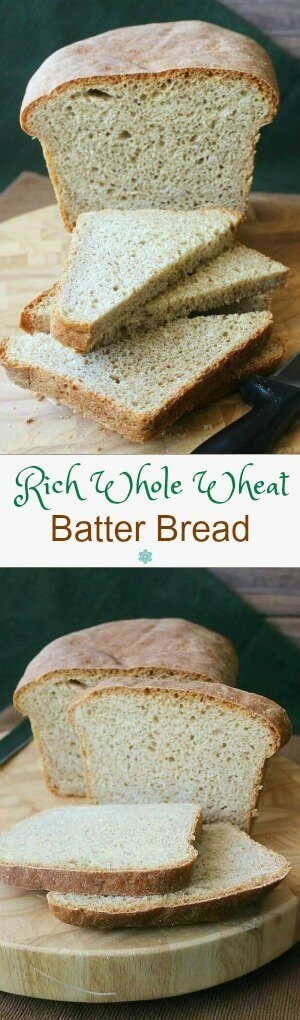 Rich Whole Wheat Batter Bread has a two photo vertical layout with recipe title in the center to be optimized for pinterest.