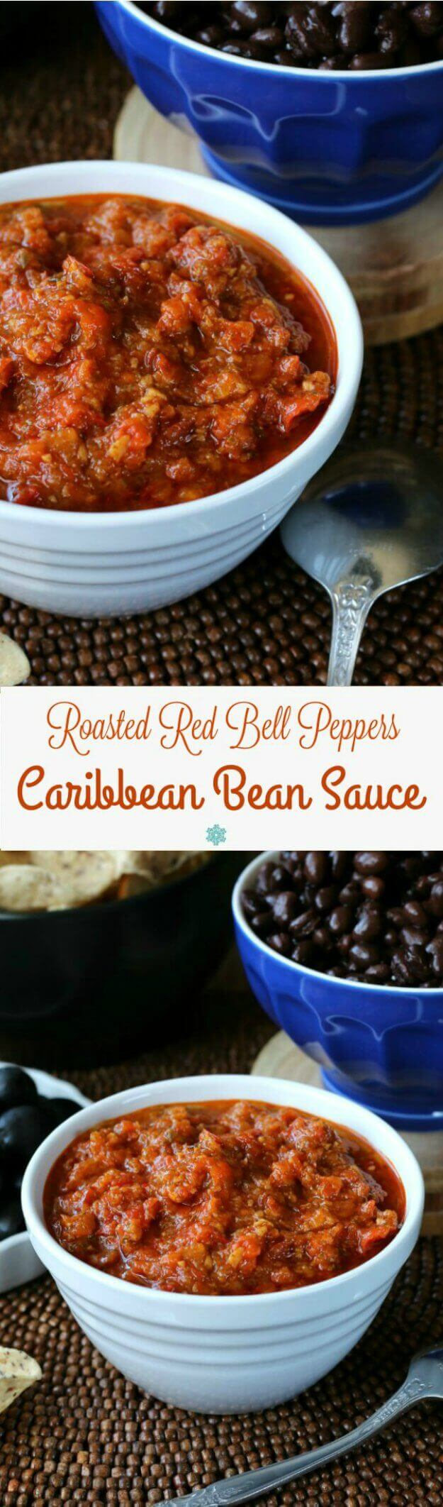 Roasted Red Bell Peppers Caribbean Bean Sauce is a must have for your condiment list. Served with beans but is a great dip too.