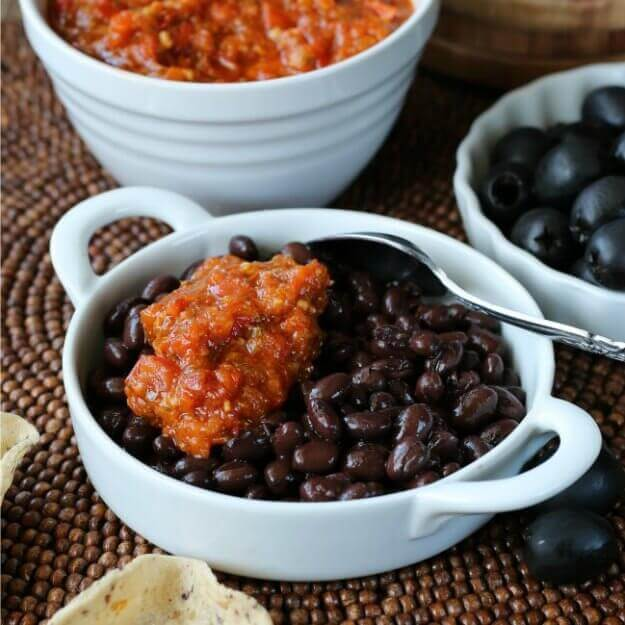Roasted Red Bell Peppers Caribbean Bean Sauce is so unusual but a must have for your condiment list.