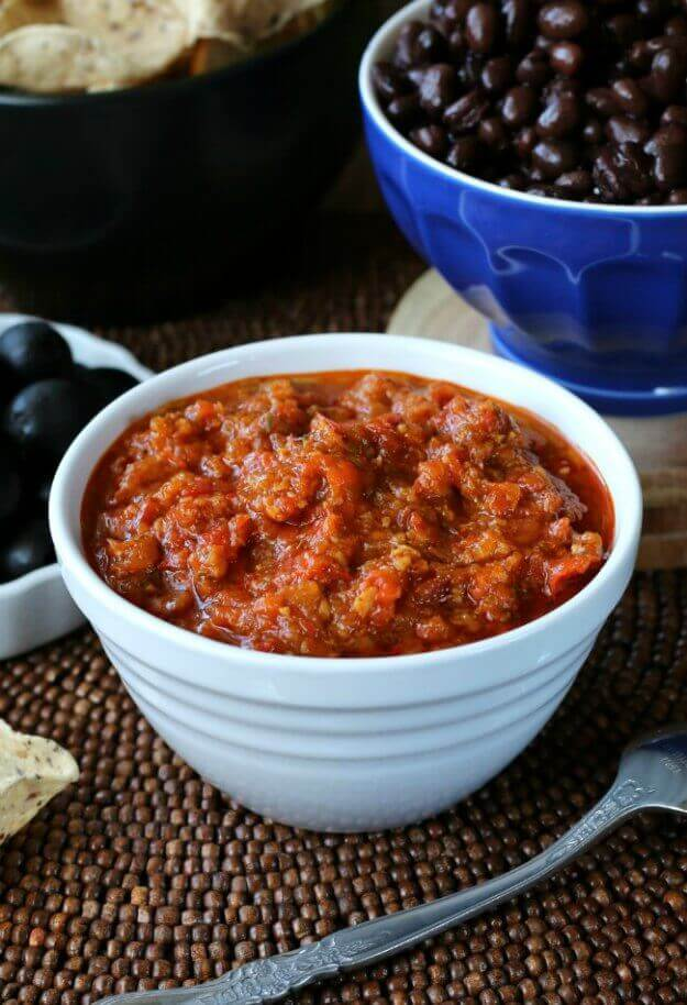 Roasted Red Bell Peppers Caribbean Bean Sauce is so unusual but a must have for your condiment list. Served with beans but is a great dip too.