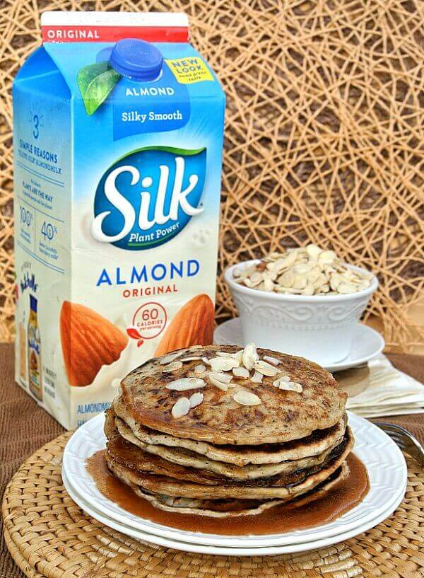 Vegan Buttermilk Pancakes with Almond Butter Maple Syrup are to-die-for and simple to make. Dairy-Free too with Silk Almondmilk.