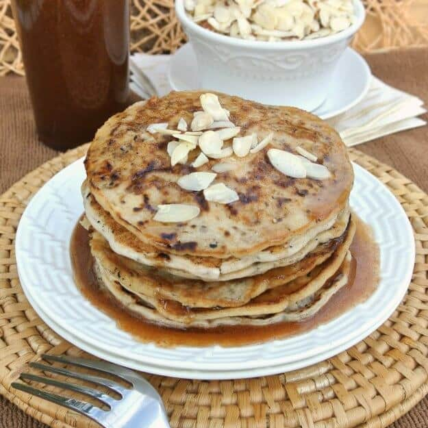 Vegan Buttermilk Pancakes with Almond Butter Maple Syrup photographed in a square image for social media optimization.
