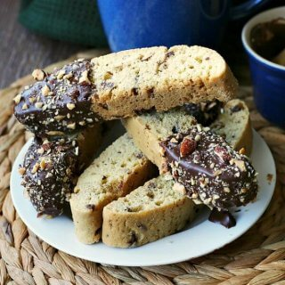 Chocolate Dipped Vanilla Biscotti adds decadence to your morning coffee. Kick your feet up and relax!