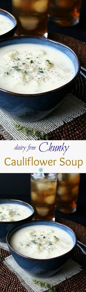 Dairy Free Chunky Cauliflower Soup is lightly spiced comfort food. Easy to make and it will have everyone coming back for seconds.