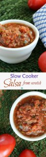 Slow Cooker Salsa is perfect and adds a lots of flavor to your chips, tacos, sandwiches, soups and much more. Crock pot cooking indoors or out!