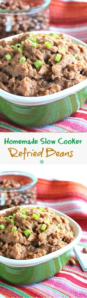 Refried Beans Homemade in the Slow Cooker is an easy side dish. So much tastier and inexpensive than the store bought ones.