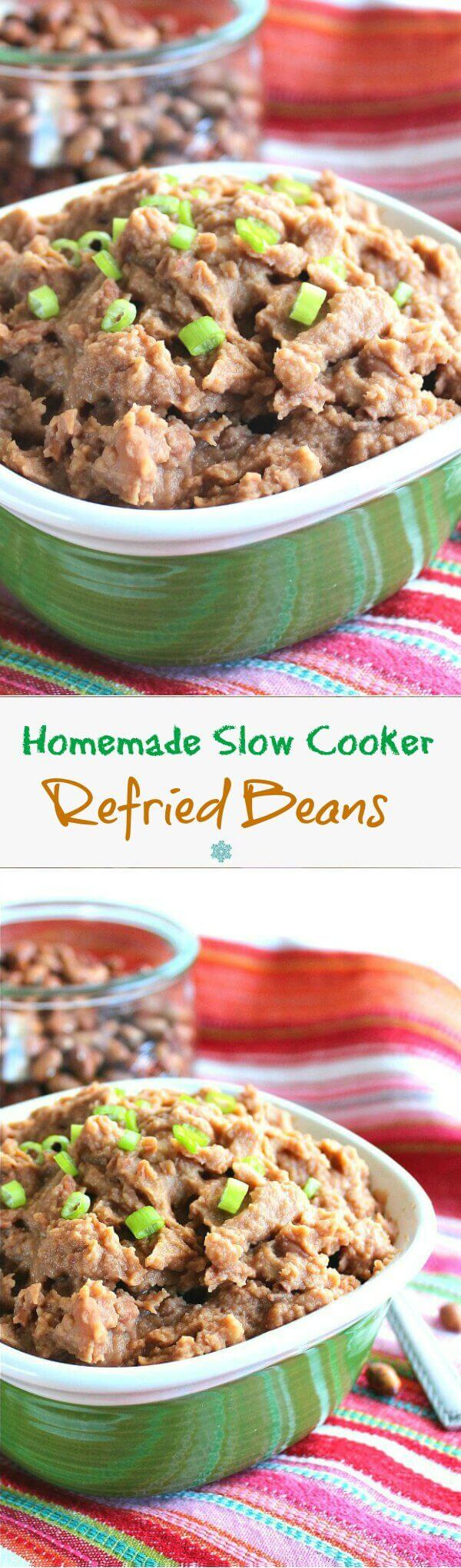 Refried Beans Homemade in the Slow Cooker is a side dish made with ease. So much tastier and inexpensive than the store bought ones.