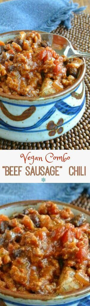 """Vegan Combo """"Beef Sausage"""" Chili is a meal that your whole family will love. Deep and rich in flavor with lots of beans, tomatoes and spices."""
