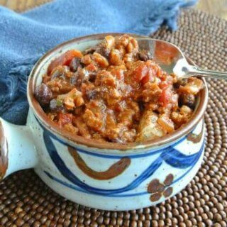 "Vegan Combo ""Beef Sausage"" Chili is deep and rich in flavor with lots of beans, tomatoes and spices."
