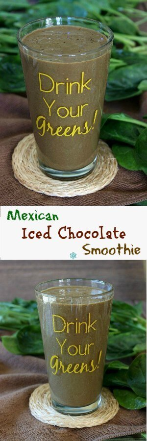 Mexican Iced Chocolate Smoothie images optimized a double photo long pin for pinterest.