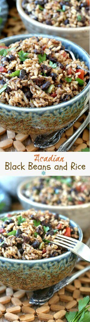 Acadian Black Beans and Rice are mixed together with beautiful beiges, blacks and reds then sprinkles with green parsley. Double photos on top of each other showing different angles of bowls full of black beans and brown rice.
