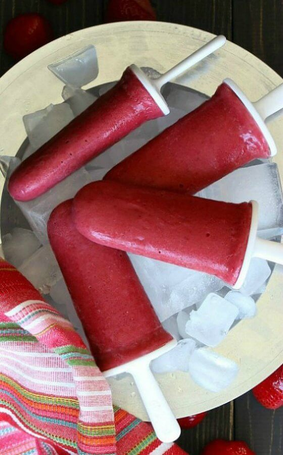 Dairy Free Strawberry Frozen Yogurt Popsicles