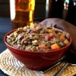 Lentil Sausage Casserole is high in protein, simple to make, has great flavors and perfect textures. Comfort food for the whole family.