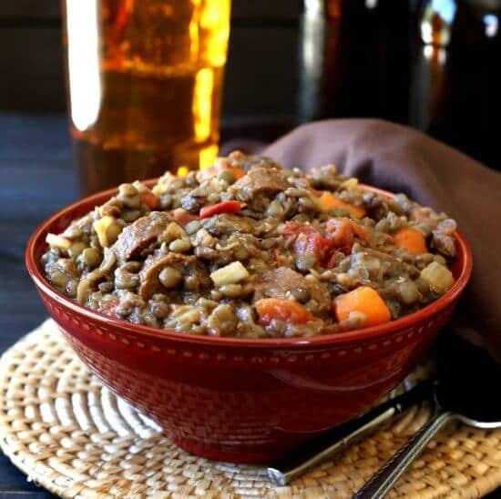 Vegan Lentil Sausage Casserole is high in protein, simple to make, has great flavors and perfect textures. Comfort food for the whole family.