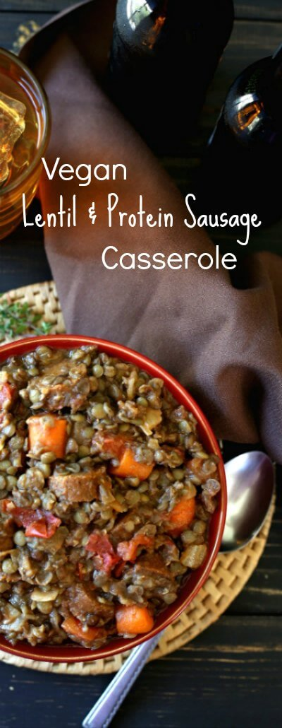 Vegan Lentil Sausage Casserole is comfort food for the family. High in protein, simple to make, has great flavors and perfect textures.