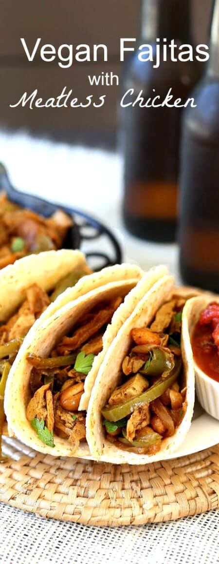 Vegan Fajitas waka Meatless Chicken Fajitas are filled with a variety of grilled vegetables. Add some meatless chicken and a bit of cinnamon to keep the true Hispanic spirit.