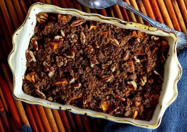 Chunky Raisin Sweet Potato Casserole is an updated version of sweet potato casserole. Inviting pecan topping just waiting for you to dig in.