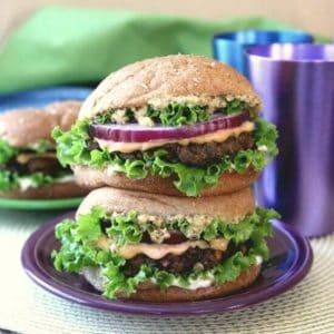 Kidney and Black Bean Burgers is made with an eclectic group of favorite ingredients.
