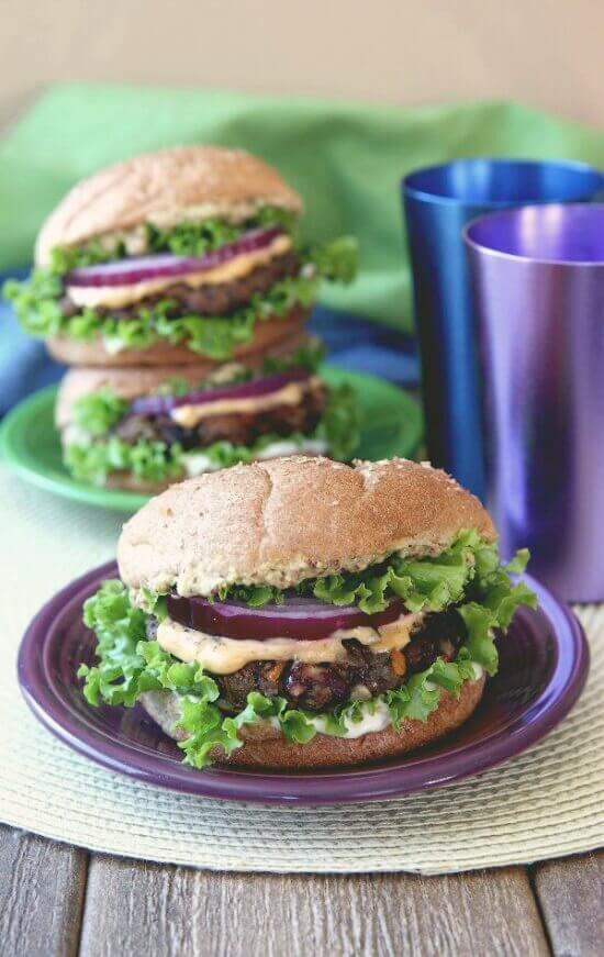 Kidney and Black Bean Burgers is made with an eclectic group of favorite ingredients.  It's a big batch so you can have a party or freeze some patties for the future. 30 minutes!