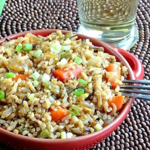 Ginger Rice has a bit of spicy heat. Along with all of the other spices and vegetables you will have a wonderful main or side dish. Under 30 minutes!