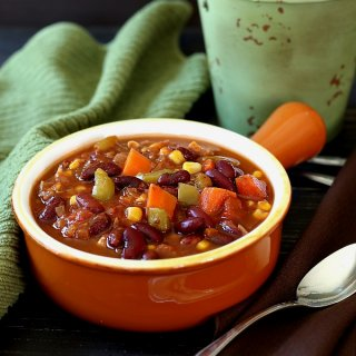 Caribbean Chili is spicy and has a bucketful of veggies. Comfort food that adds warmth in the winter.