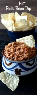 Hot Pinto Bean Dip is an American go-to when it comes to throwing a party. Everyone loves it and this one adds a little bit more - spices and cheese. It's a big batch from scratch!