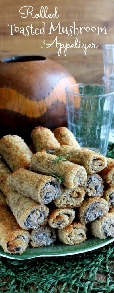 Rolled Toasted Mushroom Appetizer is something that I don't think you've seen before.  Roll the bread flat first, spread with filling , roll up and bake.  Delicious!