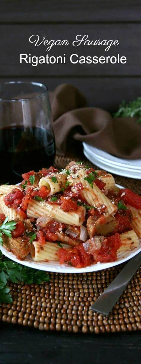 Vegan Sausage Rigatoni is a great family meal. It's different from the usual spaghetti sauce but basic enough that the kids will love it too.