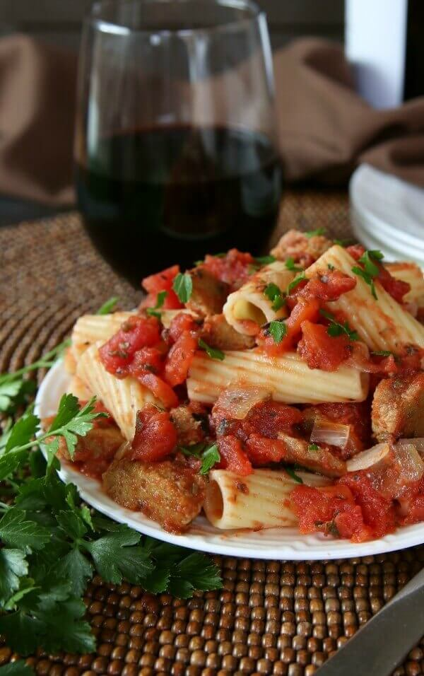 Seitan Sausage Rigatoni Casserole is a great family meal. It is different than the usual spaghetti sauce mixture but basic enough that the kids will love it too.